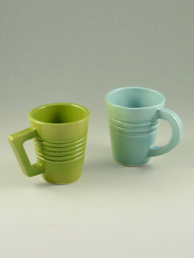 Coffee Mugs, Green and Blue by Kevin Eaton